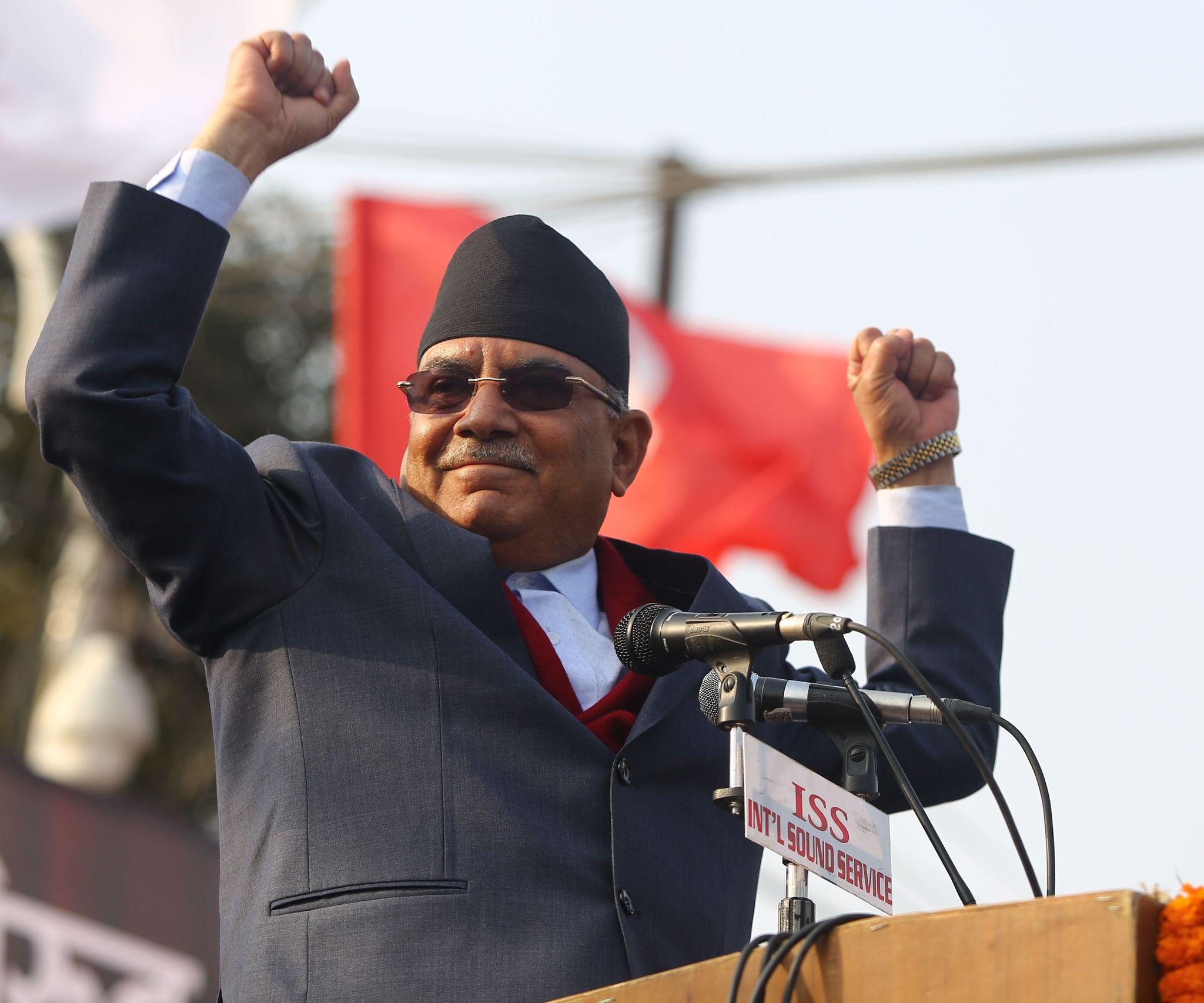 नेकपा (प्रचण्ड-नेपाल समूहका) अध्यक्ष पुष्पकमल दाहाल 'प्रचण्ड'