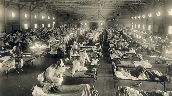 भारतीय सञ्चारमाध्यम द प्रिन्टमा प्रकाशित स्पेनिश फ्लूबाट संक्रमितको तस्वीर